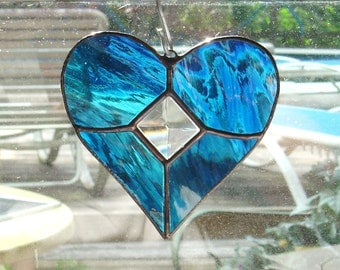 Beautiful Blue Stained Glass Heart Sun Catcher with Cut Glass Bevel