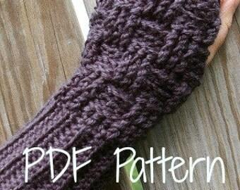 Crochet Pattern Fingerless Gloves Basketweave Pattern