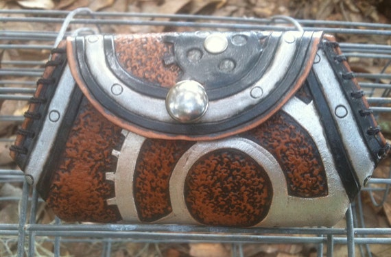 Leather steampunk coin pouch