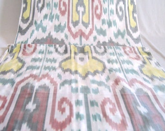 FOR SALE is yellow red green white pure silk ikat fabric, uzbek ikat, silk fabric, pure silk, design fabric, interior design, light fabric