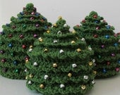 HAT Christmas CROCHET PATTERN Christmas Tree in 5 Sizes 0 to 5 plus years Beaded