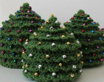 HAT CROCHET PATTERN Christmas Tree in 5 Sizes 0 to 5 plus years Beading Tutorial Included