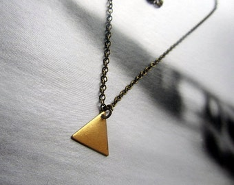 Triangle metal geometry shape charm with antique brass chain