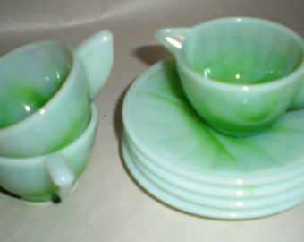 Akro Agate Jadite Green Swirl - Child's Toy Dishes