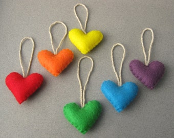 5 Felt Heart Christmas Ornaments Wedding favors You choose colors Eco-Friendly Recycled Felt OlyTeam