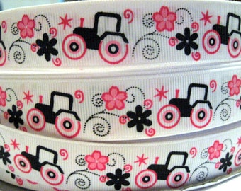 7/8 Tractor Ribbon Black Pink Flowers white Grosgrain Printed Ribbon By the yard Making Hair Bow Hair Clips Scrapbook Supplies