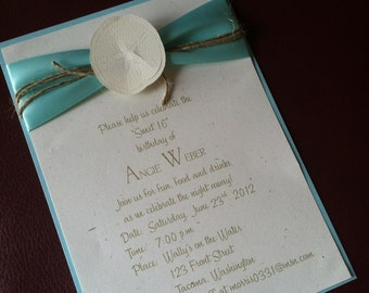5x7 Beach Wedding invitation or Birthday Party Invite with RSVP and Coordinating Envelopes
