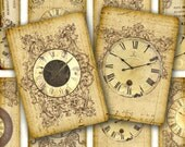 Antique Clocks Aceo / ATC Cards Digital Collage Sheet