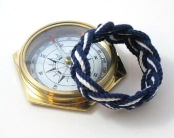 Nautical Bracelet Navy and White Sailor Knot Weave