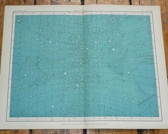 1908 astronomy chart original antique celestial print - map of the stars no 3