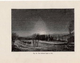 1891 zodiac light original antique celestial astronomy print