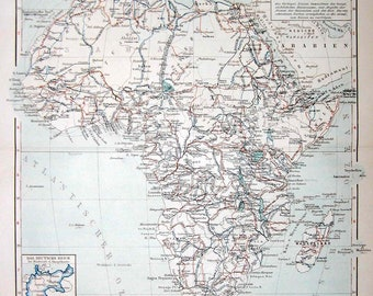 1894 africa map original antique map print