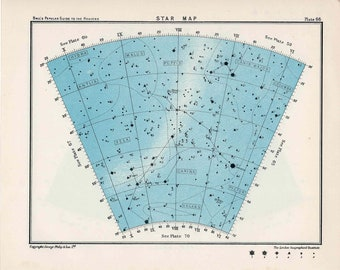 1955 star map arc 66 & 65 constellations original vintage celestial print