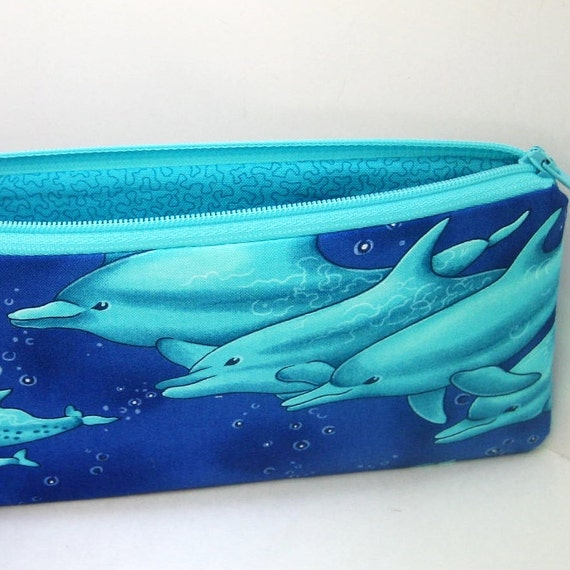 Pencil Pouch BLUE DOLPHINS Turquoise
