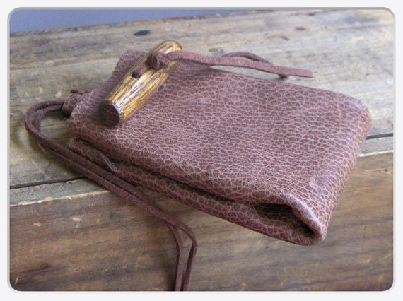 kangi galeska. Spotted Crow. Genuine spotted toffee Leather Medicine Bag Pouch wood toggle  button. Handmade