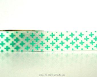 Turquoise Cross Washi Tape Plus Sign (Chugoku) -  gift packaging or card making
