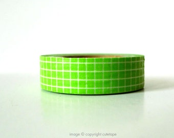 Green Grid Washi Tape (Chugoku) -  gift packaging or card making