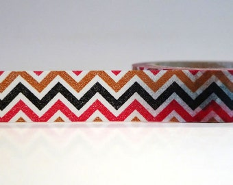 Washi Tape CHEVRON Black Brown Red (Chugoku)