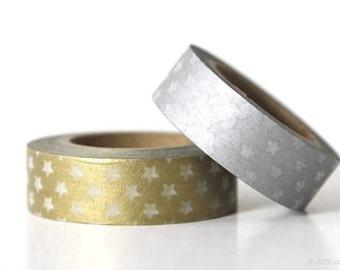 Gold Silver Stars Washi Tape SET of 2  (Chugoku)