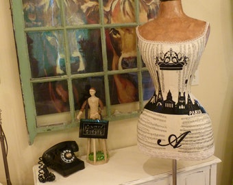 Paris Vintage Inspired Dress Form Mannequin Eiffel Tower Crown Custom Made Free Ship And Layaway Available