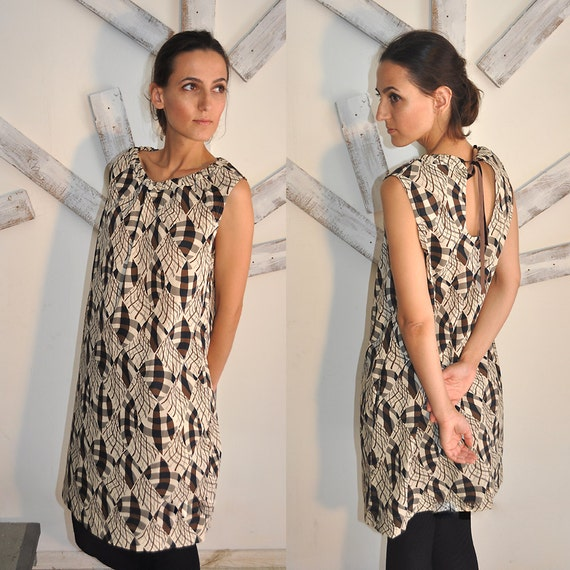 SALE 30%, under 50,   A line African print  cotton tying mini dress with pockets SMALL in stock