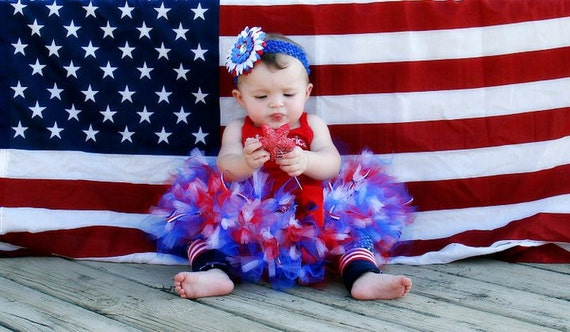 Baby Girls Birthday Tutu Dress Outfit  Little Miss America Tutu Skirt