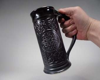 Celtic Beer Stein - Satin Black Glaze - 22oz - Foodsafe, Functional Stoneware for Kitchen, Home Decor, Weddings, Gifts