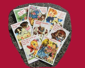 16 Thank You Cards. BUY UP to 3 SETS. 16 Vintage Style Gift Tags With Notations, Animals, Children. 5057