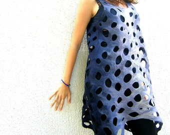 Felted Dress Tunic Sleeveless With Holes Lattice Colors By Choice MADE TO ORDER