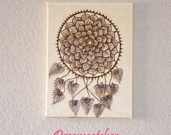 Dreamcatcher Painting, Acrylic Mixed Media Painting with Henna, Unique, OOAK, Global Art
