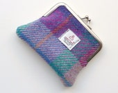 Harris Tweed Coin Purse in pink and cerise plaid , handmade in Scotland