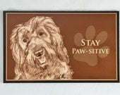 Labradoodle  Dog Art Fridge Magnet- Stay Paw-sitive