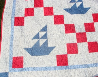 Nautical, Boat Twin, Quilt, Red White Blue