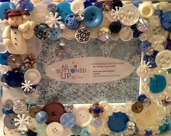 RESERVED ~ CUSTOM ONLY Snowman Button Frame in Blue and White with Icy Winter Crystals ~ Holiday Frame ~ Christmas Frame ~ for 4x6 photo