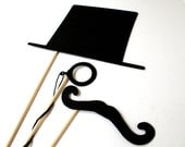 Photo booth Props. Wedding Photo Props. Top Hat. Props. Party Props - The Mysterious 3 Maro Kit