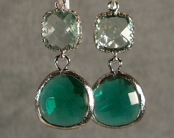 Prasiolite and Teal Green Glass Silver Earrings, Bridesmaid Earrings, Bridal Earrings, Silver Bridesmaid Earrings (3404W)