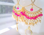 Hot Pink Earrings Fairytale Pearl Moonstones Lakshmi by MinouBazaar