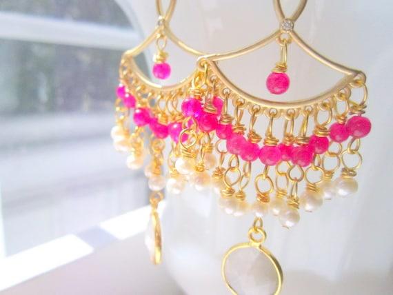 Hot Pink Earrings Fairytale Pearl Moonstones Lakshmi by MinouBazaar