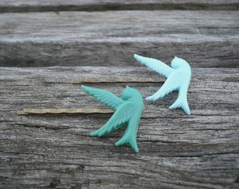 flying sparrow bobby pin set - mint green and baby blue