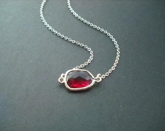 Ruby Red bezel necklace -  Bridesmaids gift, Wedding Gift