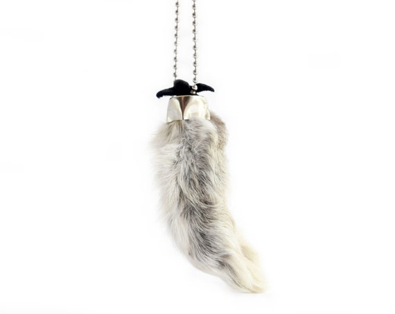Lucky Rabbit Foot Necklace on Stainless Steel Ball Chain