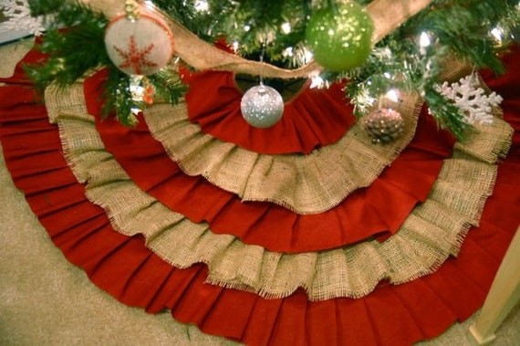 Ruffled ChristmasTree Skirt Layered Red And By