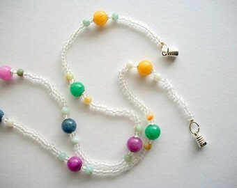 Beaded Choker Necklace Jade and Amazonite Beads with Crystal Glass Beads Magnetic Clasp