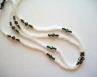 Crystal Eyeglass Lanyard Beaded Necklace with Turmaline Green Swarovski Crystals