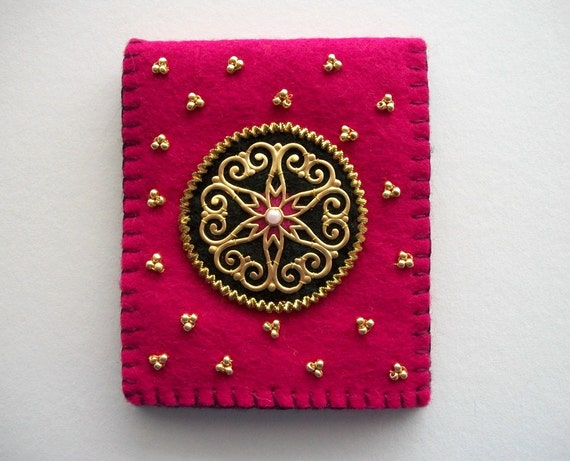Fuchsia Needle Book with Large Brass Stamping and Permanent Gold  Seed Beads Handsewn