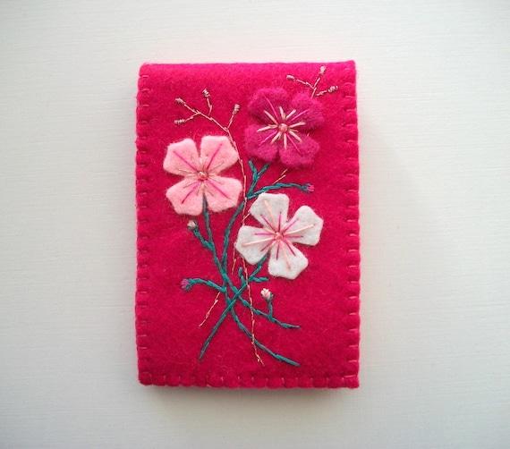 Fuchsia Needle Book Felt Organizer with Embroidered Felt Flowers Handsewn