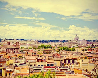 Rome photography, Italy photos, panoramic photo, landscape, view from hill, wanderlust, travel print for beautiful home decor, 8x10