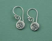 Tiny Om Earrings - sterling silver earrings - om jewelry - yoga earrings