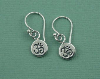 Om Earrings -  Sterling Silver Yoga Earrings - Silver Dangle Earrings, Trendy Earrings, Gift for Girlfriend, Gift for Mom, Gift for Women