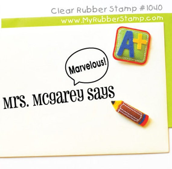 Compliments Praise Pre-inked Stamp • Personalized Teacher Stamp • Gift for Teachers & Parents (P1040)